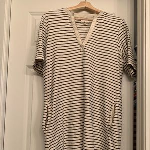 Lou and Grey dress; navy and off-white stripes